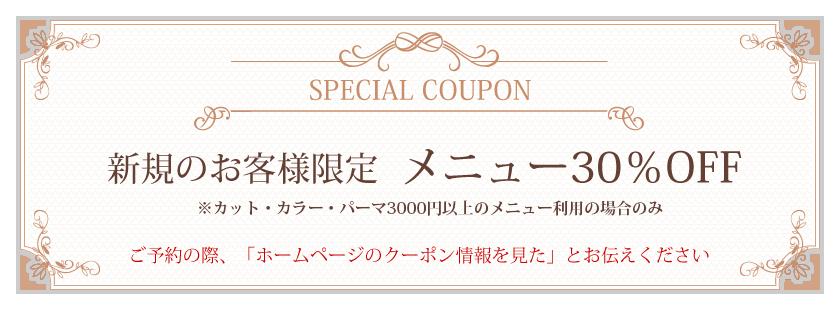 スペシャルクーポン。新規のお客様限定、メニュー30%OFF(HPのクーポン情報を見たとお伝えください)。